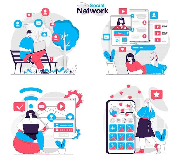 Social-network-konzept-set benutzer durchsuchen feed-post-fotos kommunizieren online