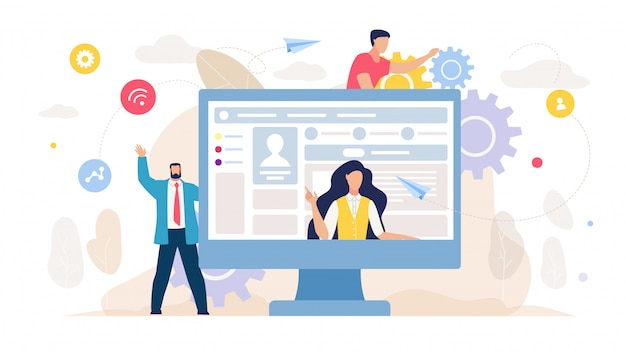 Social network management und marketing-karikatur