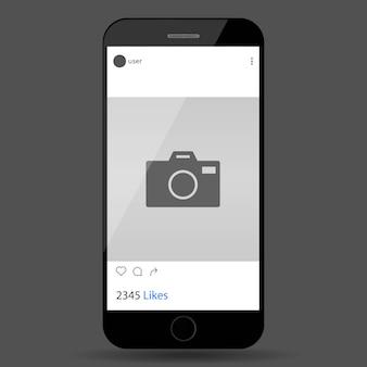 Social network post auf dem handy-bildschirm