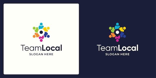 Social network team logo design vektor und standortzeichen symbol logo.