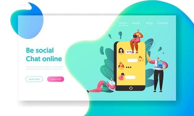 Social networking chat auf dem großen bildschirm der smartphone-landingpage.