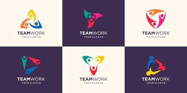 Social people einheit zusammen teamwork-logo-symbol