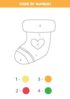Socke nach zahlen färben. mathe-spiel für kinder.