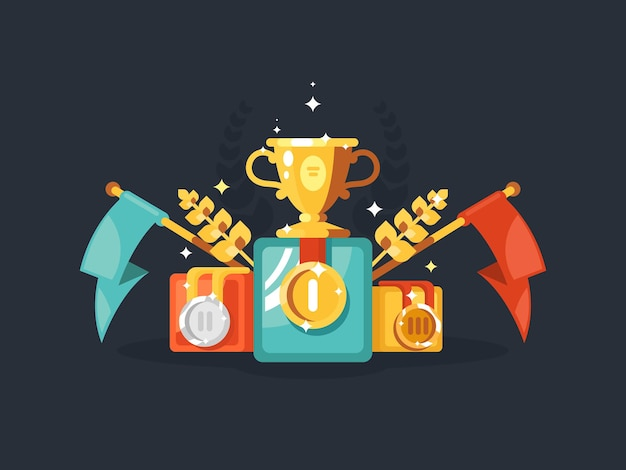 Sockeldesign flach mit goldpokalmedaillen und flaggen. vektor-illustration