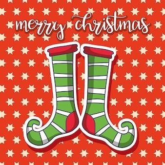 Socken-cartoonkarte der frohen weihnachten
