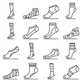 Socken-icon-set. umrisssatz sockenvektorikonen