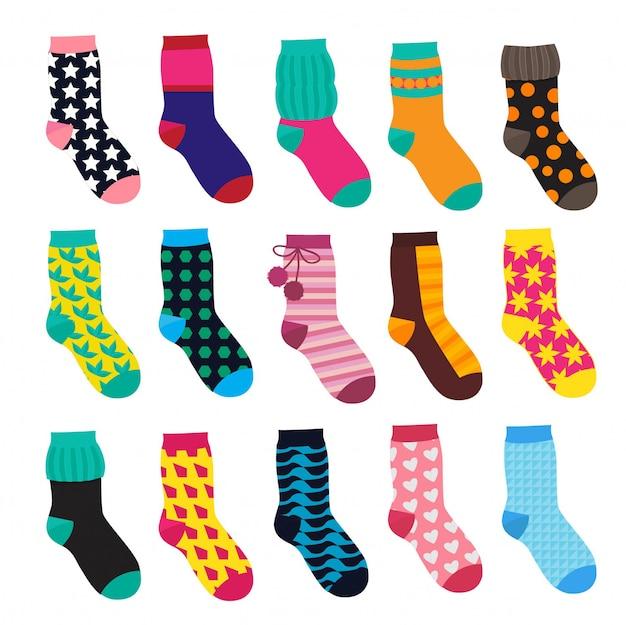 Socken im cartoon-stil. elemente der kinderkleidung. vektorabbildungen isolieren