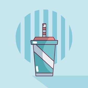 Soda auf plastikbecher