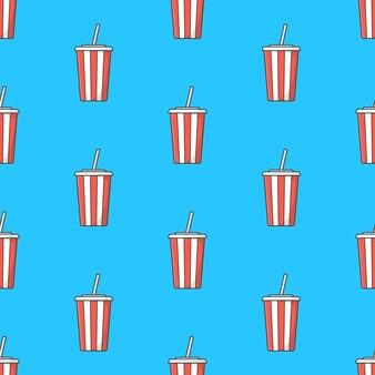 Soda cup nahtloses muster auf einem blauen hintergrund. soda-thema-vektor-illustration