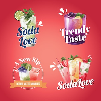 Soda getränk logo design aquarell illustration
