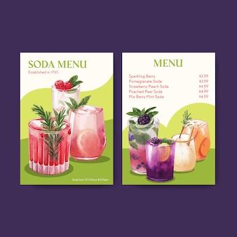 Soda getränkekarte vorlage für café und bistro aquarell illustration