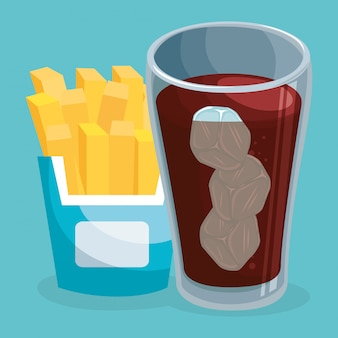 Soda mit pommes frites fast food