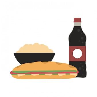 Soda und popcorn mit sandwich