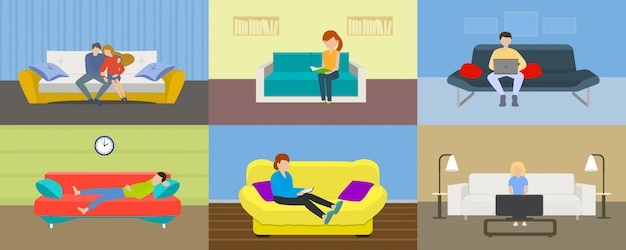 Sofa-banner-set, flachen stil