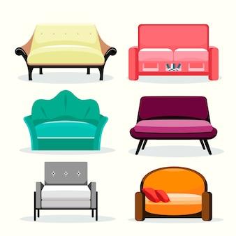 Sofa farbige vektorsammlung