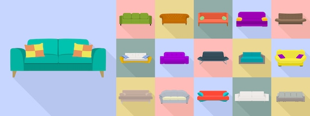 Sofa-icon-set, flachen stil