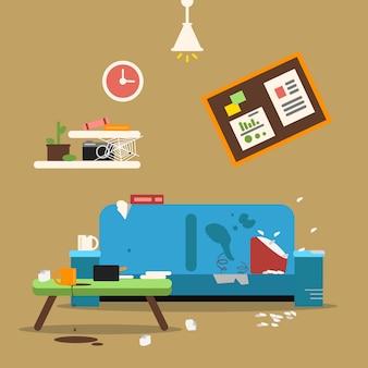Sofa in schmutzig organisierter wohnung