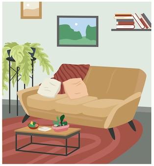 Sofa in skandinavischer hygge gemütlicher innenvektorillustration. cartoon süße wohnzimmerwohnung mit bequemen möbeln, couchsofa, zimmerpflanzen, couchtisch und malerei auf wandhintergrund