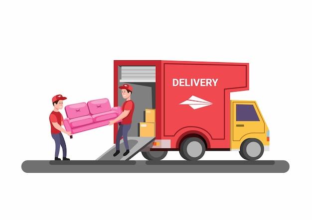 Sofa lieferung oder umzug van möbel service-konzept in cartoon-illustration