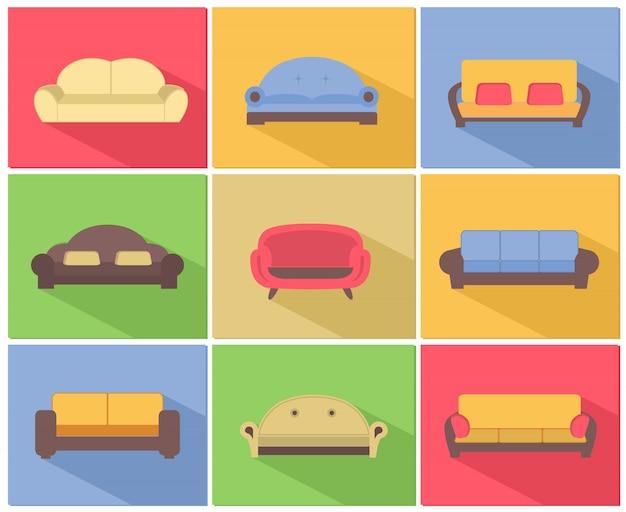 Sofas und sofas icons set