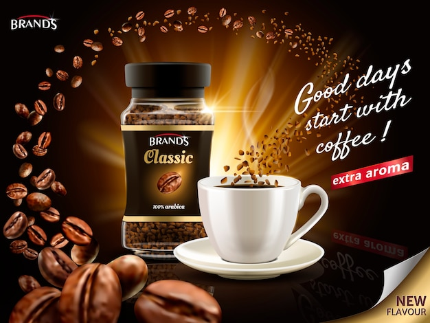 Sofortige arabica-kaffeeanzeige, umgeben von unzähligen kaffeebohnenelementen, illustration