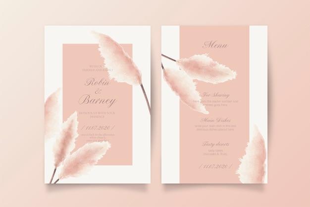 Soft blush hochzeitseinladung und menüvorlage