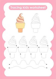 Soft icecream - verfolgen sie das arbeitsblatt zum schreiben und zeichnen von linien für kinder