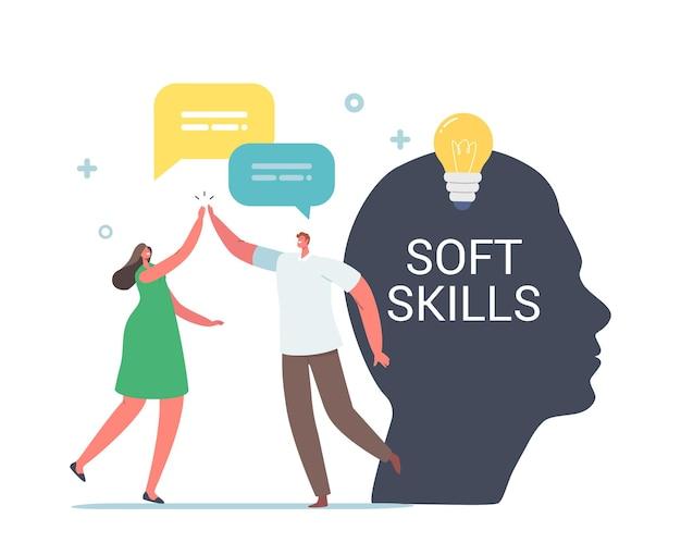 Soft skills im geschäftskonzept. winzige männliche und weibliche charaktere der kollegen geben fünf bei riesigem menschlichem kopf. empathie für büroangestellte, arbeitskommunikation und partnerschaft. cartoon-menschen-vektor-illustration