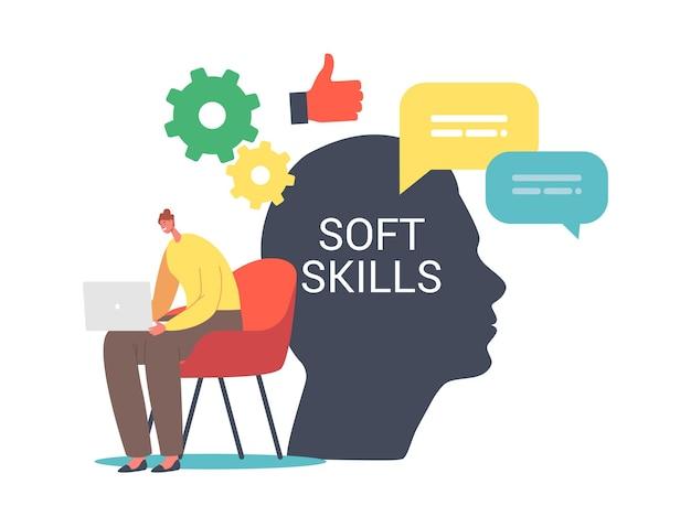 Soft skills im geschäftskonzept. winzige weibliche figur, die am laptop am riesigen menschlichen kopf arbeitet. empathie für büroangestellte, arbeitskommunikation, ideenentwicklung und bildung. cartoon-vektor-illustration