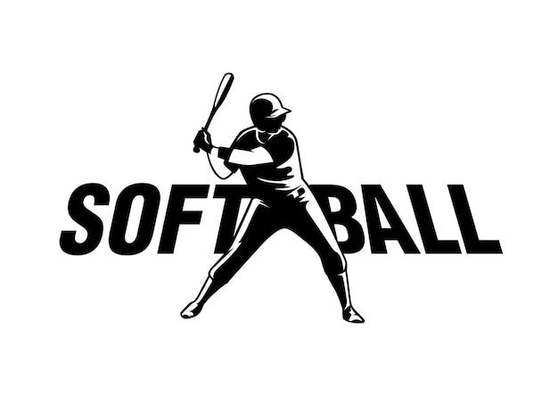 Softball-logo in schwarz-weiß-stil