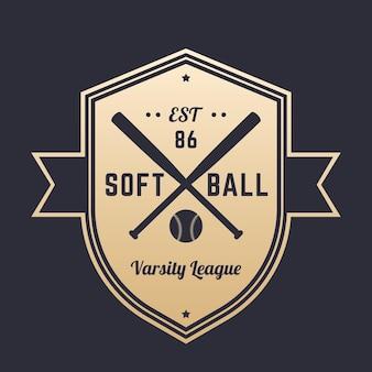 Softball-vintage-logo, abzeichen, emblem-design mit gekreuzten fledermäusen, gold auf dunkelheit, vektorillustration