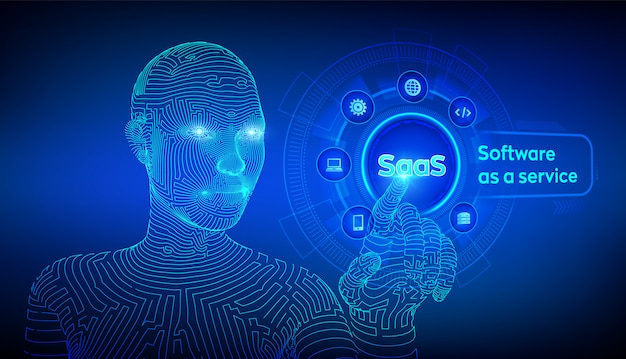 Software as a service-konzept auf virtuellem bildschirm