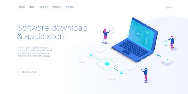 Software-download und anwendung isometrische illustration. programmentwickler arbeiten an der entwicklung, codierung und dem testen von web-apps. website-banner-layout-vorlage.