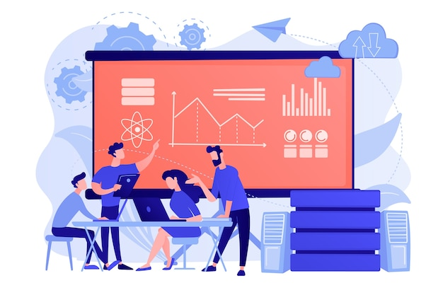 Software engineer, statistiker, visualizer und analyst, die an einem projekt arbeiten. big-data-konferenz, big-data-präsentation, data-science-konzept Kostenlosen Vektoren