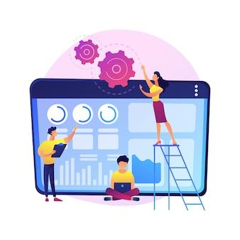Software-erneuerung, app-entwicklung, programmierung. modernisierung und innovation von computerprogrammen. programmierer team zeichentrickfiguren.
