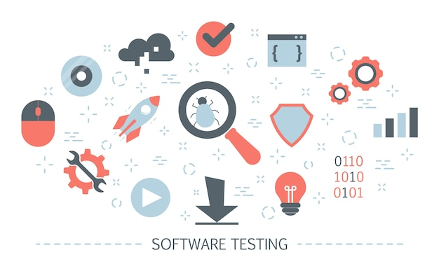 Software-konzept testen. testprozess des anwendungscodes