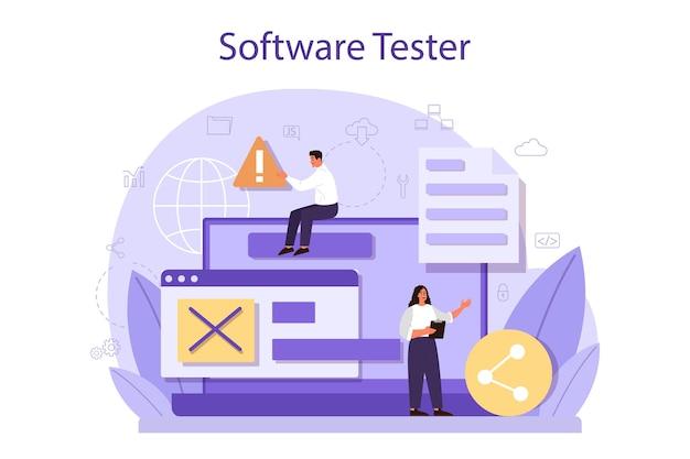 Software-konzept testen. testprozess für anwendungs- oder website-code. it-spezialist auf der suche nach fehlern. idee der computertechnologie. digitale analyse.