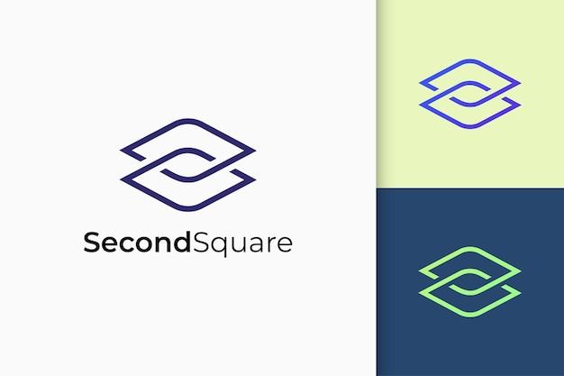 Software- oder techno-logo in abstrakter rautenform-technologie