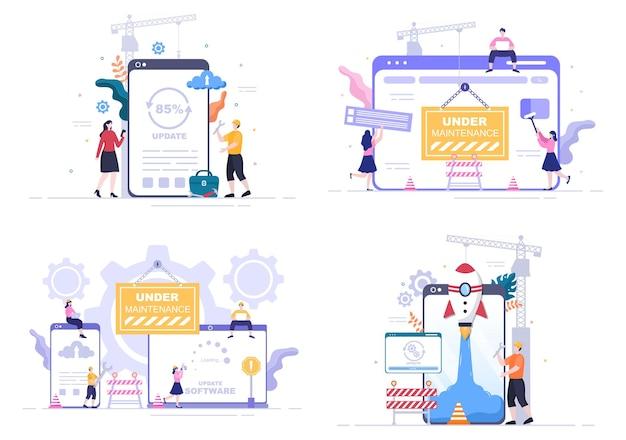 Software-system unter wartung-vektor-illustration. fehler-website, entwicklung und aktualisierung von webseiten in der mobilen anwendung für postervorlage