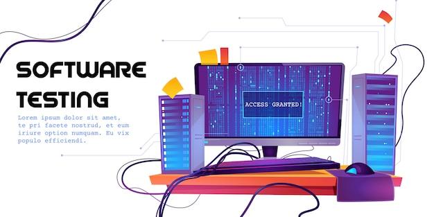 Software-test-cartoon-banner. funktionstest, programmiermethode, suchfehler und -fehler, entwicklung der website-plattform, optimierung der dashboard-benutzerfreundlichkeit für die abbildung von computer-pcs