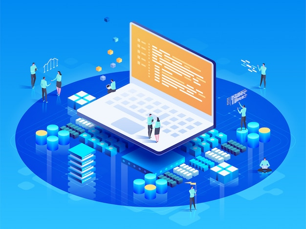 Software, webentwicklung, programmierkonzept. leute, die auf laptop einwirken
