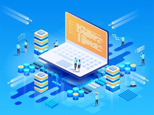 Software, webentwicklung, programmierkonzept. menschen, die mit laptop interagieren