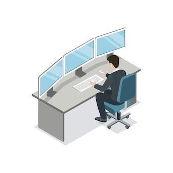 Softwareentwickler, der isometrische illustration kodiert