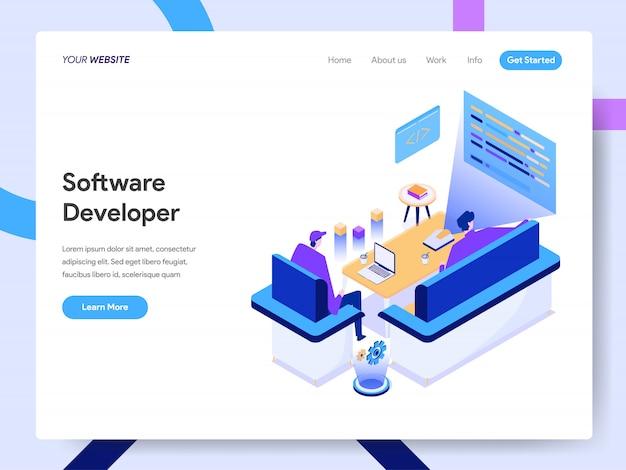Softwareentwickler-isometrische illustration für website-seite