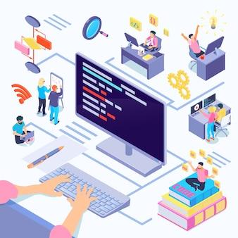 Softwareentwickler während der codierung komposition mit kreativen entscheidungen algorithmische komplexität dokumentation durch programmiersprachen isometrisch