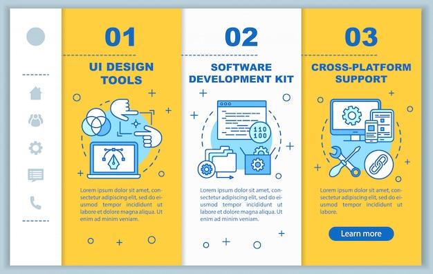 Softwareentwicklung onboarding mobile webseiten vorlage. responsive smartphone-website-schnittstellenidee mit linearen abbildungen. schrittbildschirme für die webseite. farbkonzept