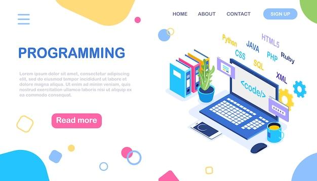 Softwareentwicklung, programmiersprache, codierung. digitale technologie. isometrischer laptop, computer