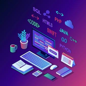 Softwareentwicklung, programmiersprache, codierung. isometrischer pc, computer mit digitaler anwendung auf weißem hintergrund.
