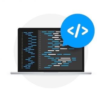 Softwareentwicklung, programmierung, codierung des vektorkonzepts.