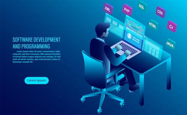 Softwareentwicklung und codierung. programmierung des konzepts. datenverarbeitung. computercode mit fensterschnittstelle.
